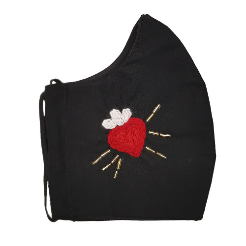 Milagrito Hand-embroidered Black Facemask