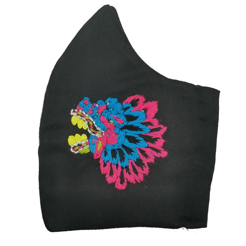 Quetzalcoatl Hand-embroidered Black Facemask
