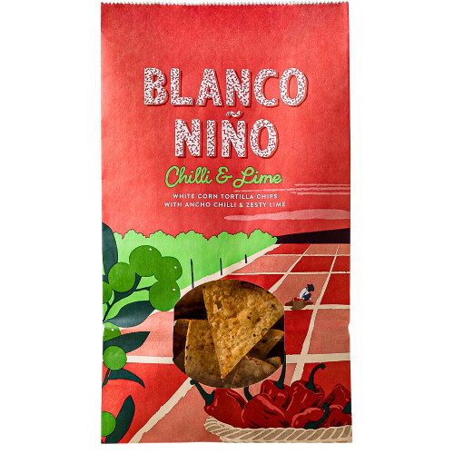 Blanco Nino Chilli and Lime White Corn Tortilla Chips 12 x 170g