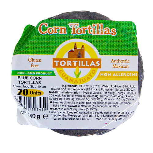 10cm Blue Corn Tortilla Zip Lock 40x20 Case