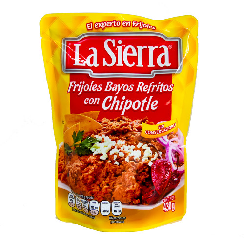 La Sierra Refried Beans with Chipotle Pouch 24 x 430g
