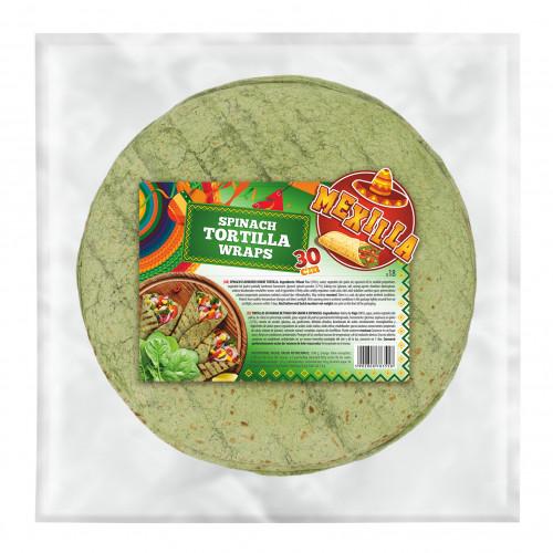 Mexilla 30cm Flour Spinach Tortilla 18 units