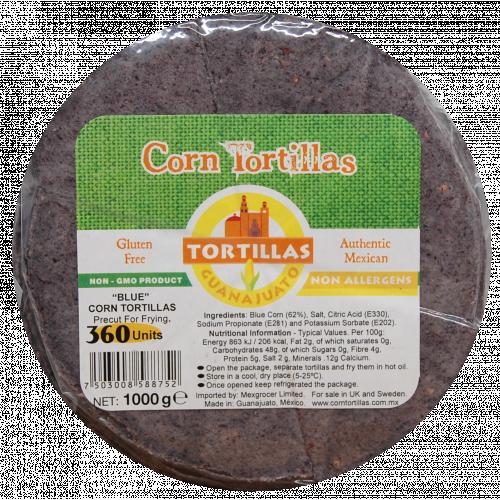 Pre Cut Blue Corn Tortilla for Frying 15cm 10x1kg Case