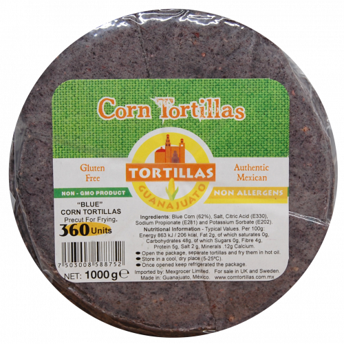Pre Cut Blue Corn Tortilla for Frying 15cm 1kg