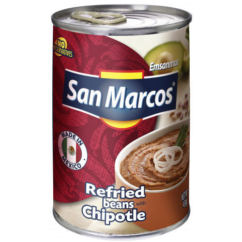 San Marcos Refried Beans with Chipotle 6 x 430g Case