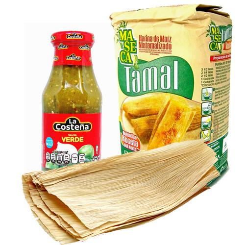 Tamale Making Kit: 1kg Maseca, Corn Husks & Salsa Verde