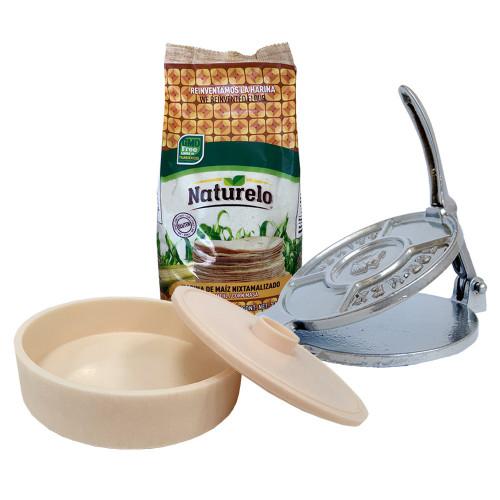 Tortilla Making Kit: Tortilla press, 1kg Naturelo & Tortilla Warmer