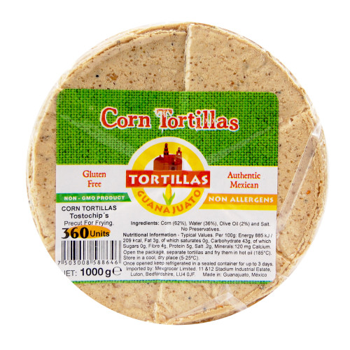 Pre Cut Corn Tortilla for Frying Tostochip 10 x 1KG Case