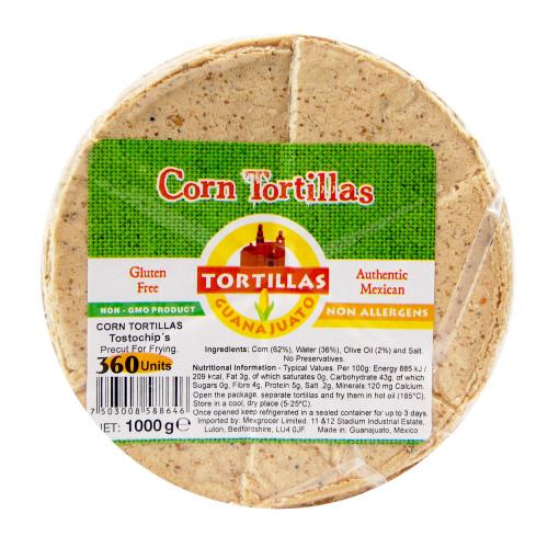 Pre Cut Corn Tortilla for Frying Tostochip 1kg