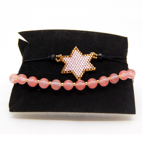 Star and Cherry Quartz Bracelet